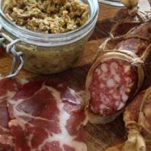 award winning british charcuterie platter, mushroom pate, coppa, salami
