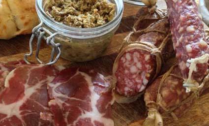 award winning British charcuterie platter, mushroom pate, Cornish Coppa, salami